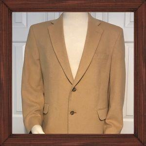 Jos A Bank Tan Camel Hair Blazer Jacket Size 44R